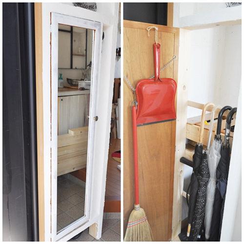 3. ベニヤ板を貼らなかった場所には 元々家にあった姿見の鏡を蝶番で固定 開閉できるように。開けるとホウキチリトリ、傘の収納。