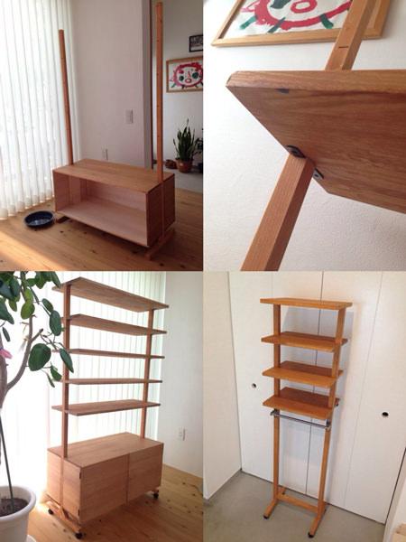 3. 収納BOXに扉を付けて棚板を組み立てて完成。  小さいサイズの靴棚は、下に傘がかけれる様にバーを付けました。作り方は、大きい方と同じです。